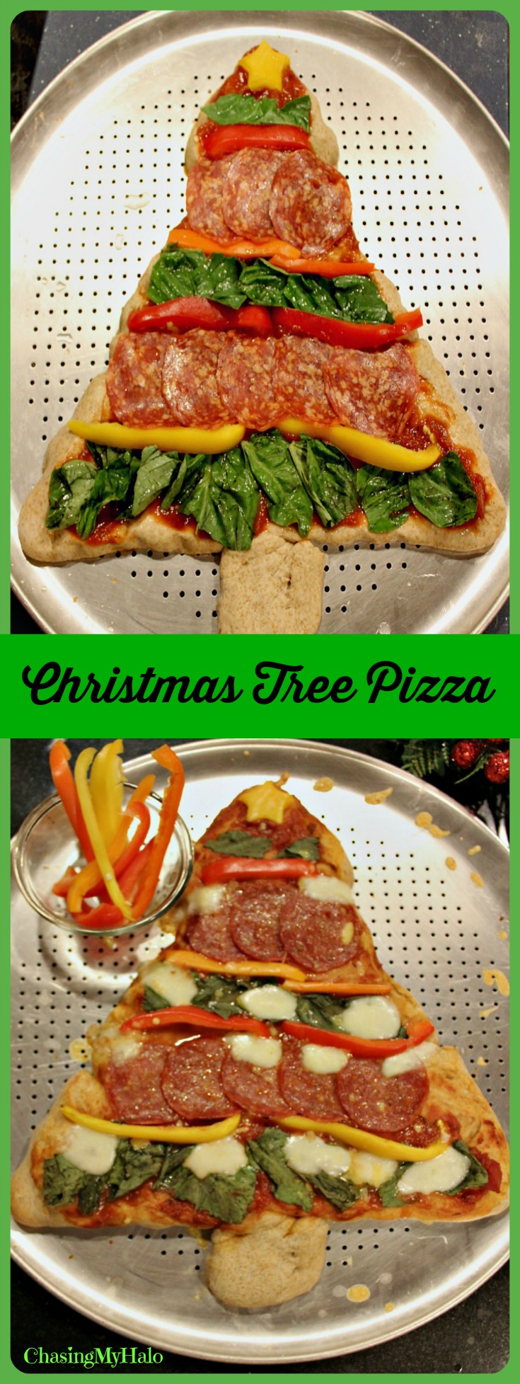 Christmas tree pizza dinner done merry and bright chasing my halo christmas tree pizza dinner done merry and bright forumfinder Choice Image